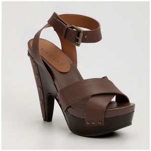 Guess Lopran Heel Wedge Sandal Brown Size 9.5